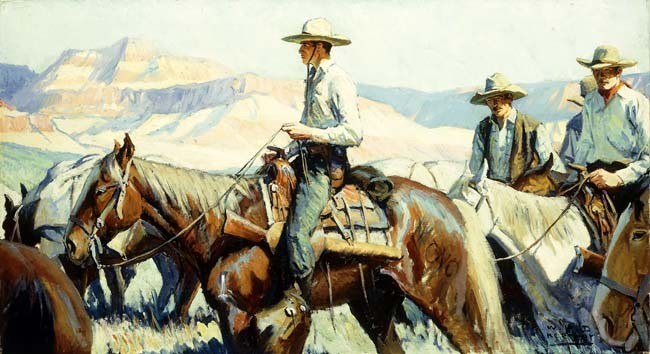 WILLIAM HENRY DETHLEF KOERNER Tall in the Saddle COWBOYS horse reins ON CANVAS