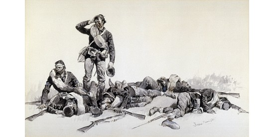 "REMINGTON ""After The Battle"" BATTLEFIELD wounded dead confusion soldiers CANVAS"