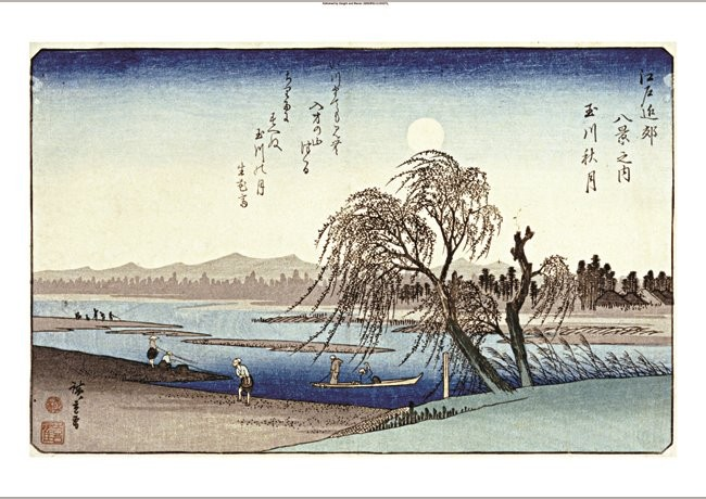 """ANDO HIROSHIGE """"Autumn Moon Over Tama River"""" PRINT choose SIZE, from 55cm up"""