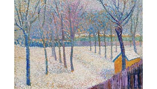 """HIPPOLYTE PETITJEAN """"Orchard In Snow"""" ON CANVAS choose SIZE, from 55cm up, NEW"""