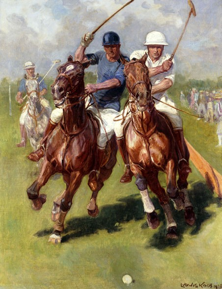 LUDWIG KOCH A Polo Match RIVALRY horseback riders competition NEW CANVAS PRINT
