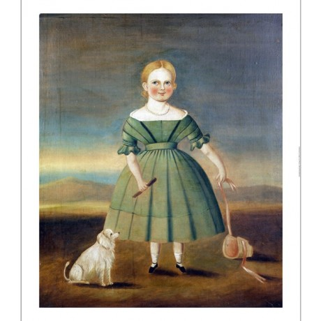 "AMERICAN SCHOOL ""Girl In Green Dress"" bonnet dog CANVAS various SIZES, BRAND NEW"