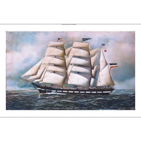 "ANTONIO JACOBSEN ""The Barque Colombine"" SHIP ON CANVAS! various SIZES, BRAND NEW"