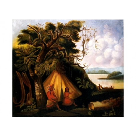 "AMERICAN SCHOOL ""Indian Encampment"" Native print choose SIZE, from 55cm up, NEW"
