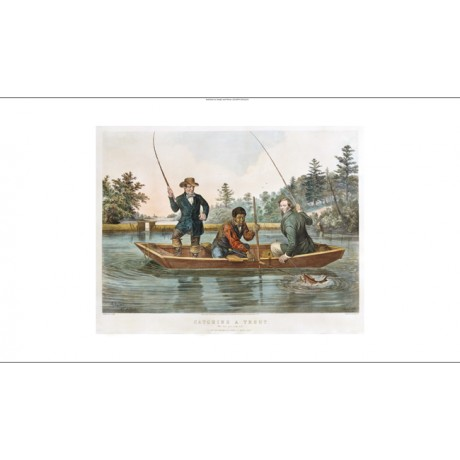 NATHANIEL CURRIER Catching A Trout Fishing PRINT NEW various SIZES available