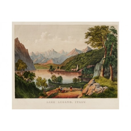 "CURRIER & IVES ""Lake Lugano, Italy"" PRINT choose your SIZE, from 55cm"