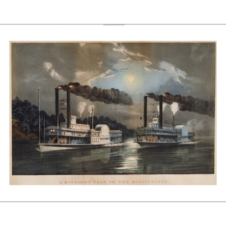 "CURRIER & IVES ""A Midnight Race On Mississippi"" print various SIZES, BRAND NEW"