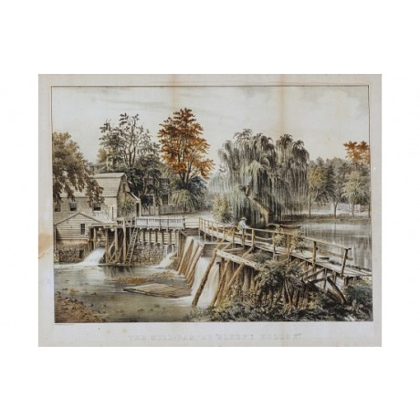 "CURRIER & IVES ""Mill-Dam At Sleepy Hollow"" print choose SIZE, from 55cm up, NEW"