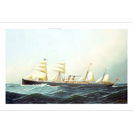 "SANTONIO JACOBSEN ""SS Ronans"" STEAMSHIP on CANVAS! choose your SIZE, from 55cm"