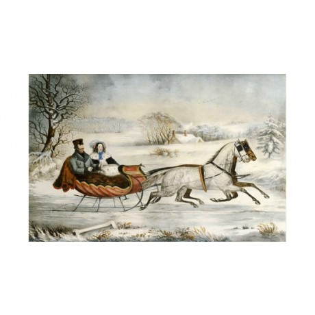 "NATHANIEL CURRIER ""Road, Winter"" Sleigh PRINT various SIZES available"