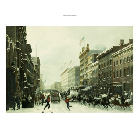 "P. GIRADET ""New York Winter Scene In Broadway"" CANVAS! various SIZES, BRAND NEW"