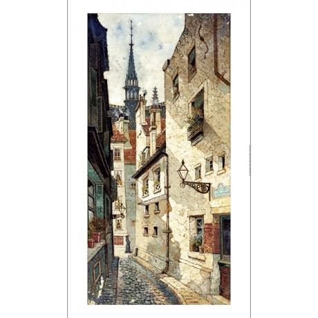 "EDWIN DEAKIN ""Rue Des Chartres, Old Paris"" ON CANVAS various SIZES available"