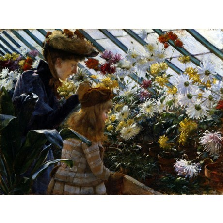 CHARLES COURTNEY CURRAN Chrysanthemums DAUGHTER mother greenhouse CANVAS PRINT
