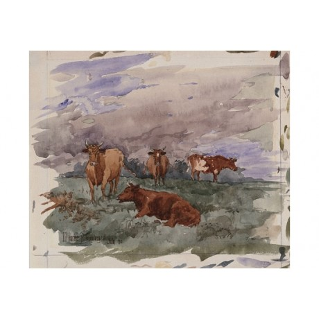 "MAURICE BRAZIL PRENDERGAST ""Cattle in Landscape"" CANVAS various SIZES, BRAND NEW"