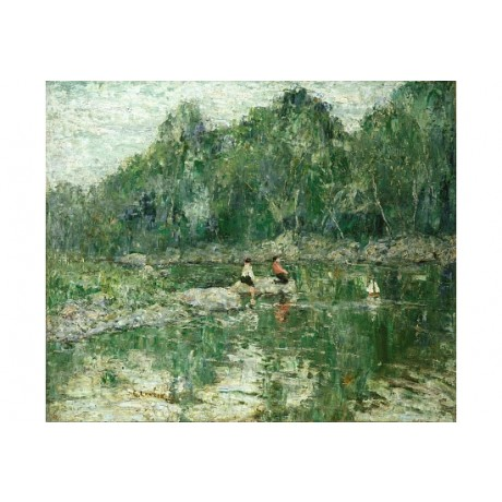 "ERNEST LAWSON ""Toy Boat"" CHILDREN water reflection lake daytime CANVAS PRINT"