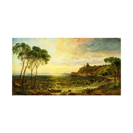 "CROPSEY ""Sunset Over Lake Thrasemine"" SHORE italy headland boat green CANVAS"