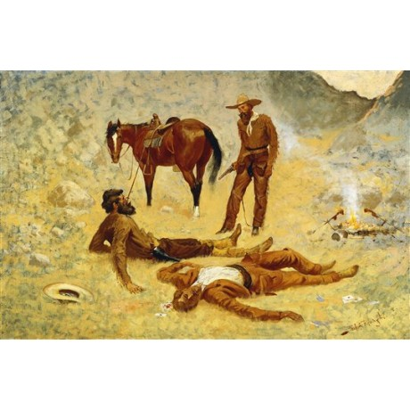 "Frederic Remington ""He Lay Where He Had Been Jerked, Still as a Log"" ON CANVAS"