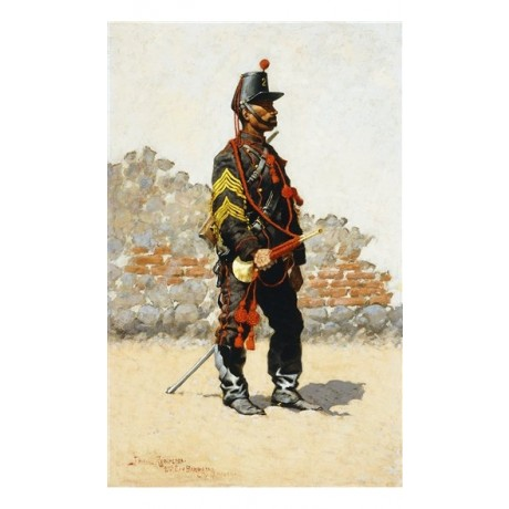 "Frederic Remington ""Bugler of the Cavalry, City of Mexico"" military ON CANVAS"