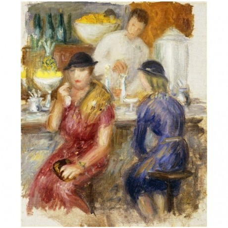 "William James Glackens ""Study for 'The Soda Fountain'"" bar stool IMPRESSIONIST"