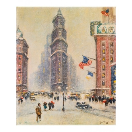 GUY WIGGINS Times Square Winter BUSY snow skyscraper new york city ON CANVAS