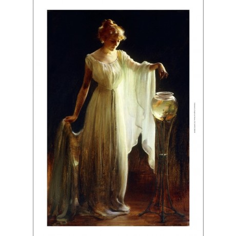 CHARLES COURTNEY CURRAN The Goldfish woman DIAPHANOUS dress feeding ON CANVAS!