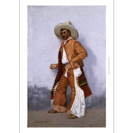 FREDERIC REMINGTON A Vaquero PRIDE mexican moustache sombrero hip CANVAS PRINT