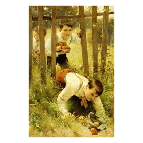 KARL WITOWSKI Stealing Apples boys SCRUMPING escape through old FENCE BRAND NEW