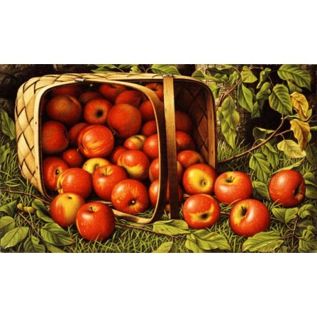 LEVI WELLS PRENTICE Basket of Apples bright RED just picked BASKET various SIZES