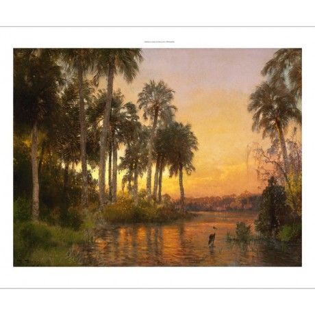"HERMANN HERZOG ""Florida Sunset"" heron in the everglades palms NEW CANVAS PRINT"