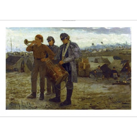 "WINSLOW HOMER ""Sounding Reveille"" SOLDIERS canvas PRINT various SIZES, BRAND NEW"