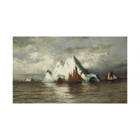 "WILLIAM BRADFORD ""Fishing Boats And Icebergs"" ON CANVAS various SIZES, BRAND NEW"