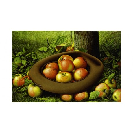 PRENTICE Apples In A Hat HARVEST thanksgiving green autumn windfall NEW CANVAS