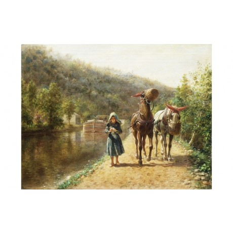 "HENRY ""Towpath"" CANAL barge mule horse girl bonnet nosebag care CANVAS PRINT"
