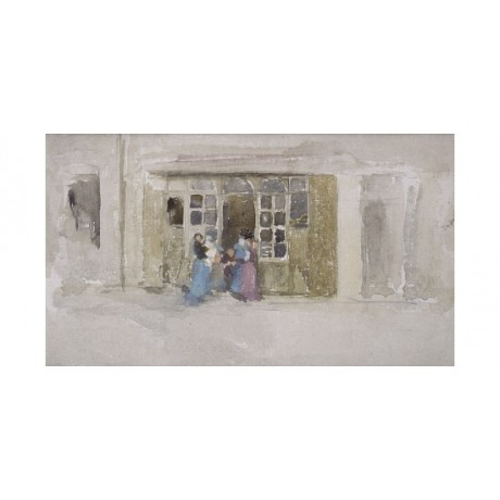 JAMES WHISTLER Women Children at Shop Door NEW CANVAS! various SIZES, BRAND NEW