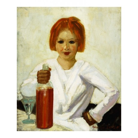 "LUKS ""Clowns' Daughter"" MISCHIEF redhead bottle wineglass white lips NEW CANVAS"