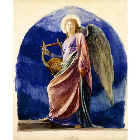 "CHARISMATIC winged WOMAN ON CANVAS ""The Harpist"" angel blue sky JOHN LA FARGE"