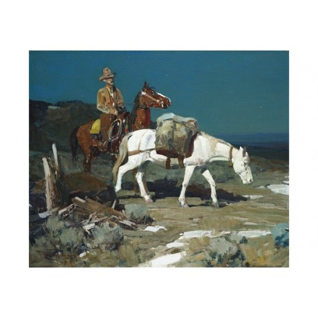 "FRANK T JOHNSON ""Evening Trail"" COWBOY horse pack animal trekking CANVAS PRINT"