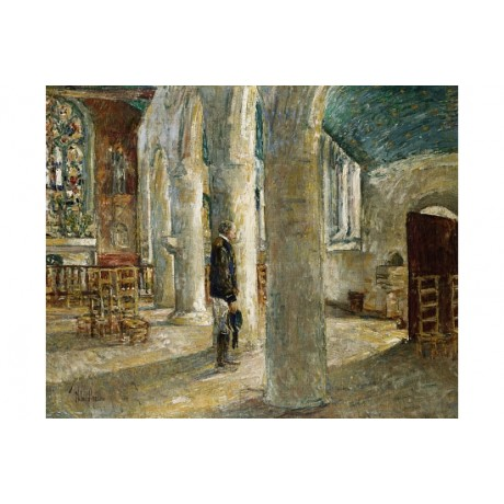 "FREDERICH CHILDE HASSAM ""Church Interior Brittany"" NEW! various SIZES, BRAND NEW"