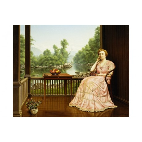 "PRENTICE ""Afternoon Idyll"" CONTEMPLATION pink dress view river veranda CANVAS"
