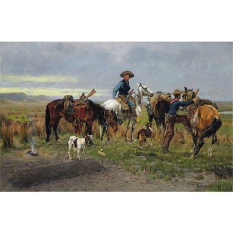 "RICHARD LORENZ ""Last Farewell"" cowboys prairie horses various SIZES, BRAND NEW"