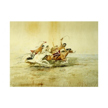 "CHARLES MARION RUSSELL ""Native Indian Horse Race"" PRINT various SIZES, BRAND NEW"