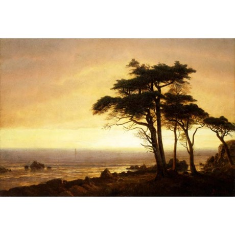 ALBERT BIERSTADT California Coast peaceful RUGGED seaview rock SUNSET tree NEW