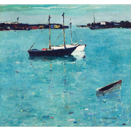 "THOMAS L HUNT ""Newport Harbor, California"" CANVAS choose SIZE, from 55cm up, NEW"