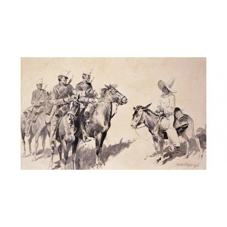 "REMINGTON ""Mexican Gendarmes Asking The Way"" SOMBRERO gun horse request CANVAS"