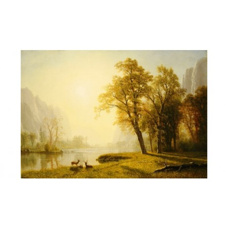 "ALBERT BIERSTADT ""Yosemite Valley"" print on CANVAS choose your SIZE, from 55cm"
