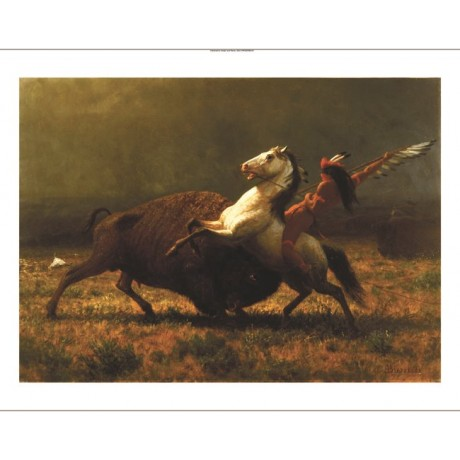 "ALBERT BIERSTADT ""Last Of Buffalo"" CANVAS ART choose your SIZE, 55cm to X LARGE"