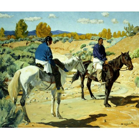 "WALTER UFER ""Companions"" native americans DESERT horseback ethnicity NEW CANVAS"