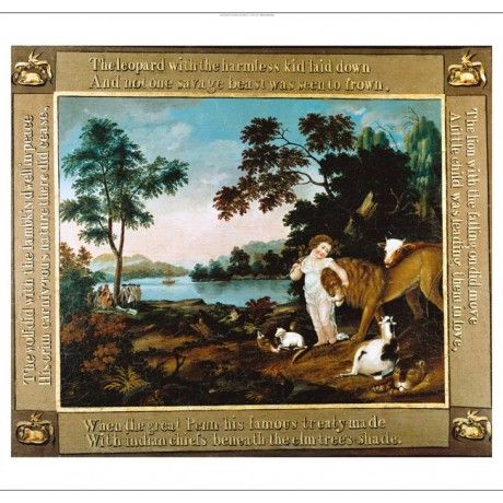 EDWARD HICKS Peaceable Kingdom child lion new CANVAS! various SIZES, BRAND NEW