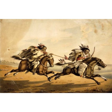 PETER RINDISBACHER The Chase native american PURSUIT horses spear speed NEW!!!