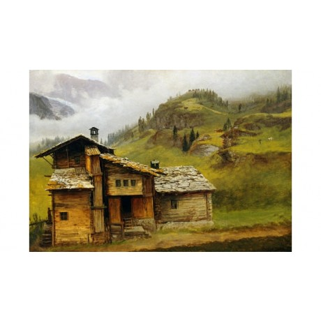 "ALBERT BIERSTADT ""Mountain House"" landscape CANVAS choose your SIZE, from 55cm"